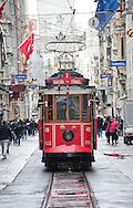 Tram on Istiklal Cadesi, the long shopping street between Taksim and Tunel. Istanbul, Turkey
