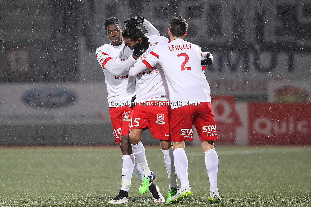 Joie Nancy - Mana DEMBELE / Youssouf HADJI / Clement LENGLET - 19.01.2015 - Nancy / Orleans - 20e journee Ligue 2<br /> Photo : Fred Marvaux / Icon Sport