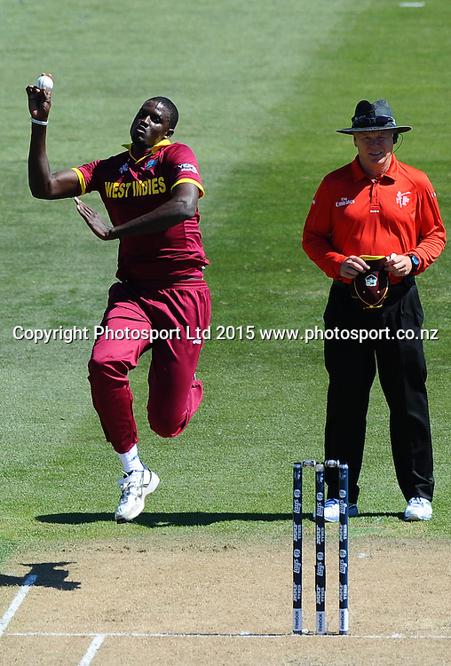 Jason Holder from the West Indies during the 2015 ICC Cricket World Cup match between West Indies and Ireland. Saxton Oval, Nelson, New Zealand. Monday 16 February 2015. Copyright Photo: Chris Symes / www.photosport.co.nz
