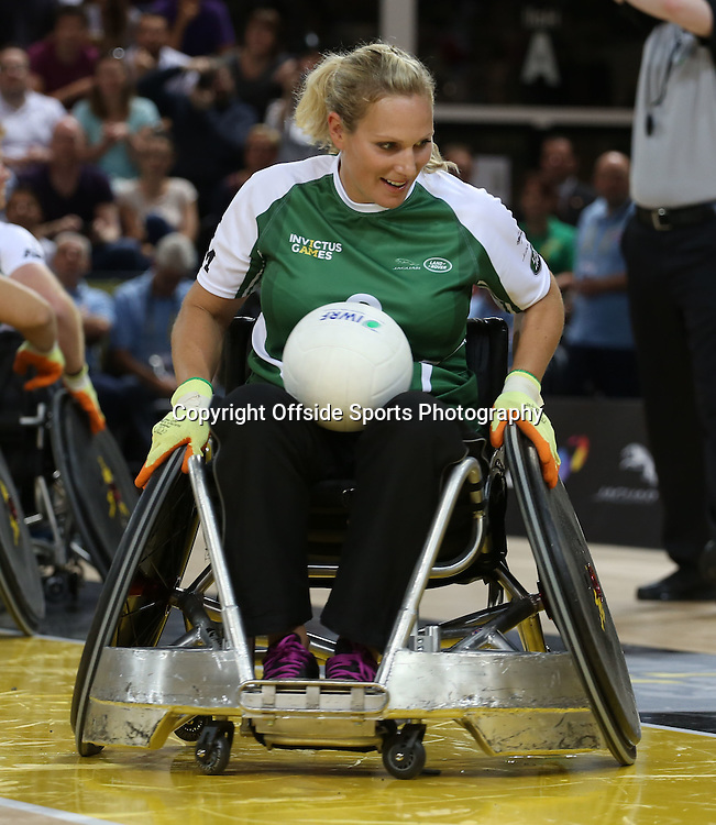 12 September 2014 - Invictus Games Day 2 - Wheelchair Rugby Celebrity Match - Zara Tindall of Team Invictus.<br /> Photo: Ryan Smyth/Offside