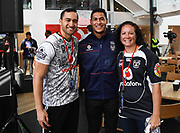 Warriors captain Roger Tuivasa-Sheck with Vodafone staff.<br /> Vodafone New Zealand announce the renewing of sponsorship for the Vodafone Warriors at InnoV8 Auckland Vodafone HQ, North Shore, Auckland. Thursday 24 May 2018. © Copyright Image: Andrew Cornaga / www.photosport.nz