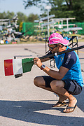 Plovdiv BULGARIA. 2017 FISA. Rowing World U23 Championships. <br /> Italian Coach, checking the pitch,   Friday Boat Area. Boat Racks Pontoons.<br /> <br /> 08:59:24  Friday  21.07.17   <br /> <br /> [Mandatory Credit. Peter SPURRIER/Intersport Images].