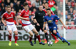 19.03.2017, Riverside Stadium, Middlesbrough, ENG, Premier League, FC Middlesbrough vs Manchester United, 29. Runde, im Bild Jesse Lingard (r) of Manchester United // Jesse Lingard (r) of Manchester United during the English Premier League 29th round match between FC Middlesbrough and Manchester United at the Riverside Stadium in Middlesbrough, Great Britain on 2017/03/19. EXPA Pictures &copy; 2017, PhotoCredit: EXPA/ Focus Images/ Simon Moore<br /> <br /> *****ATTENTION - for AUT, GER, FRA, ITA, SUI, POL, CRO, SLO only*****