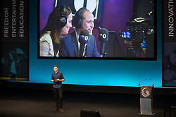 © Licensed to London News Pictures . 06/12/2017 . Manchester , UK . DJ GREG JAMES introduces Prince William for his speech to the audience . The Duke And Duchess Of Cambridge, Prince William and Kate Middleton, attend the Children's Global Media Summit at the Manchester Central Convention Centre . Photo credit : Joel Goodman/LNP