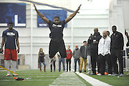 Former Ole Miss linebacker Deterrian Shackelford does the broad jump in Pro Day  at the Manning Center, in Oxford, Miss. on Thursday, March 5, 2015.