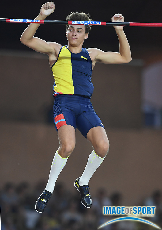 Mondo Dupantis aka Armand Duplantis (SWE) places second in the pole vault at 19-5 (5.92m) during the Herculis Monaco in an IAAF Diamond League meet at Stade Louis II stadium in Fontvieille, Monaco on Friday, July 12, 2019. (Jiro Mochizukii/Image of Sport)