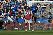 Leicester City defender Robert Huth (6)  heads towards goal during the Barclays Premier League match between Leicester City and West Ham United at the King Power Stadium, Leicester, England on 17 April 2016. Photo by Simon Davies.