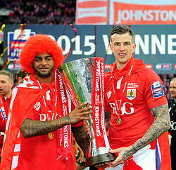 Bristol City's Mark Little and Bristol City's Aden Flint with the JPT trophy  - Photo mandatory by-line: Joe Meredith/JMP - Mobile: 07966 386802 - 22/03/2015 - SPORT - Football - London - Wembley Stadium - Bristol City v Walsall - Johnstone Paint Trophy Final