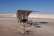 Parking ground and resting area in the rippled gypsum, sand dunes in the White Sands National Monument, New Mexico, USA