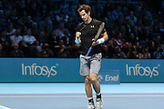 Andy Murray wins a game and clenches his fist during the ATP World Tour Finals at the O2 Arena, London, United Kingdom on 20 November 2015. Photo by Phil Duncan.