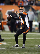 Cincinnati Bengals quarterback Andy Dalton (14) throws a deep pass for an incompletion during the NFL week 10 regular season football game against the Cleveland Browns on Thursday, Nov. 6, 2014 in Cincinnati. The Browns won the game 24-3. ©Paul Anthony Spinelli