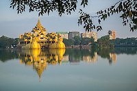 YANGON, MYANMAR - CIRCA DECEMBER 2013: View of the Karaweik Hall at Kandawgyi Lake in Yangon.