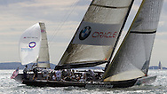 ENGLAND, Cowes, 2nd August 2010. 1851 Cup Regatta. BMW Oracle Racing and TEAMORIGIN.