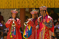 Musicians, Dance of the Judgement of the Dead (Raksha Mangcham)  at the Paro Teschu festival, Paro Dzong Monastery,  Paro Valley, Bhutan
