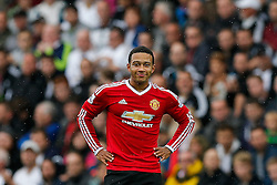 Memphis Depay of Manchester United looks on - Mandatory byline: Rogan Thomson/JMP - 07966 386802 - 30/08/2015 - FOOTBALL - Liberty Stadium - Swansea, Wales - Swansea City v Manchester United - Barclays Premier League.