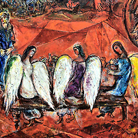 """Marc Chagall's Painting Abraham and the Three Angels in Nice, France <br /> In 1973, the National Museum Marc Chagall Biblical Message was opened in Nice to display the painter's religious art of the Old Testament's books of Genesis and Exodus.  It has since expanded into over 400 pieces of his work making it the largest public collection. This piece, painted with oil on canvas in the early 1960's, is called """"Abraham and the Three Angels."""""""
