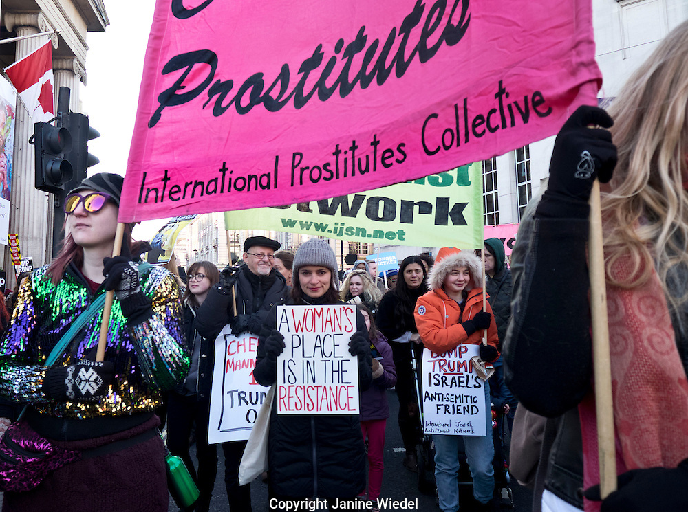 English Collective of prostitutes take part in Womens march through London against President Donald Trump 21 Jan 2017