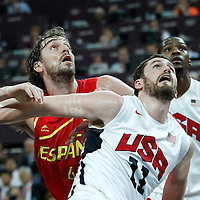 12 August 2012: Spain Pau Gasol vies for the rebound with Kevin Love during 107-100 Team USA victory over Team Spain, during the men's Gold Medal Game, at the North Greenwich Arena, in London, Great Britain.