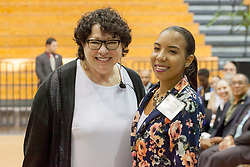 Justice Sotomayor poses for a picture with student Ki-Ana Tonge after answering her question during the question and answer session.  2017 Student Convocation with featured honored guest the Honorable Sonia Sotomayor, Associate Justice, United States Supreme Court.  UVI Sports and Fitness Center.  St. Thomas, USVI.  9 February 2017.  © Aisha-Zakiya Boyd