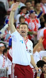 Head coach of Hungary Janos Hajdu during 21st Men's World Handball Championship 2009 Main round Group I match between National teams of Croatia and Hungary, on January 24, 2009, in Arena Zagreb, Zagreb, Croatia.  (Photo by Vid Ponikvar / Sportida)