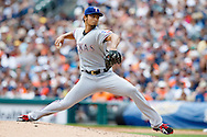 May 22, 2014; Detroit, MI, USA; Texas Rangers starting pitcher Yu Darvish (11) pitches against the Detroit Tigers at Comerica Park. Mandatory Credit: Rick Osentoski-USA TODAY Sports