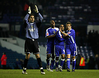 Photo: Andrew Unwin.<br />Leeds United v Cardiff City. Coca Cola Championship.<br />10/12/2005.<br />Cardiff celebrate their win at the end of the game.