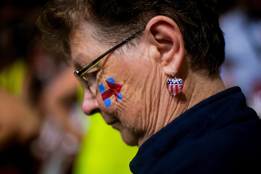 PHILADELPHIA, PA - JULY  28, 2016: Gretchen Lowe, a delegate from Madison, Wisconsin, before the final night of the Democratic National Convention in Philadelphia, Pennsylvania. CREDIT: Sam Hodgson for The New York Times. <br /> <br /> NYTDNC
