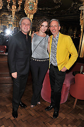 Left to right, RAFFI & JO MANOUKIAN and PATRICK COX at the 50th birthday party for Patrick Cox held at the Café Royal Hotel, 68 Regent Street, London on 15th March 2013.