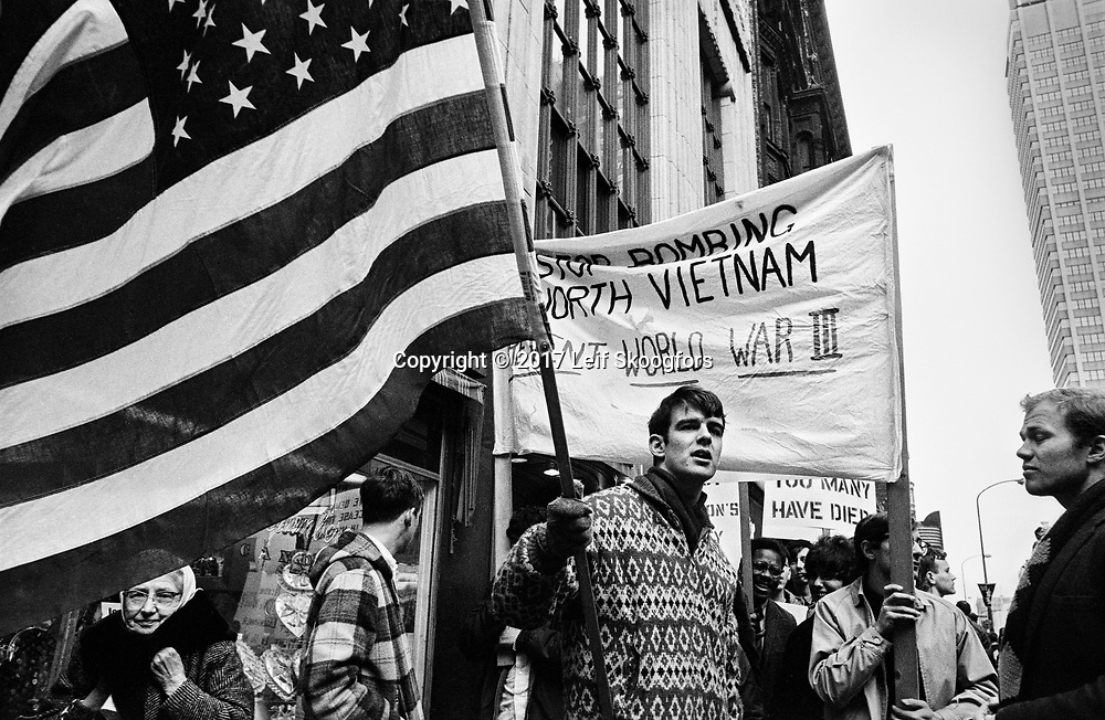 "Students from Philadelphia area colleges protest ""Rolling Thunder"", the start of the US bombing of North Vietnam."