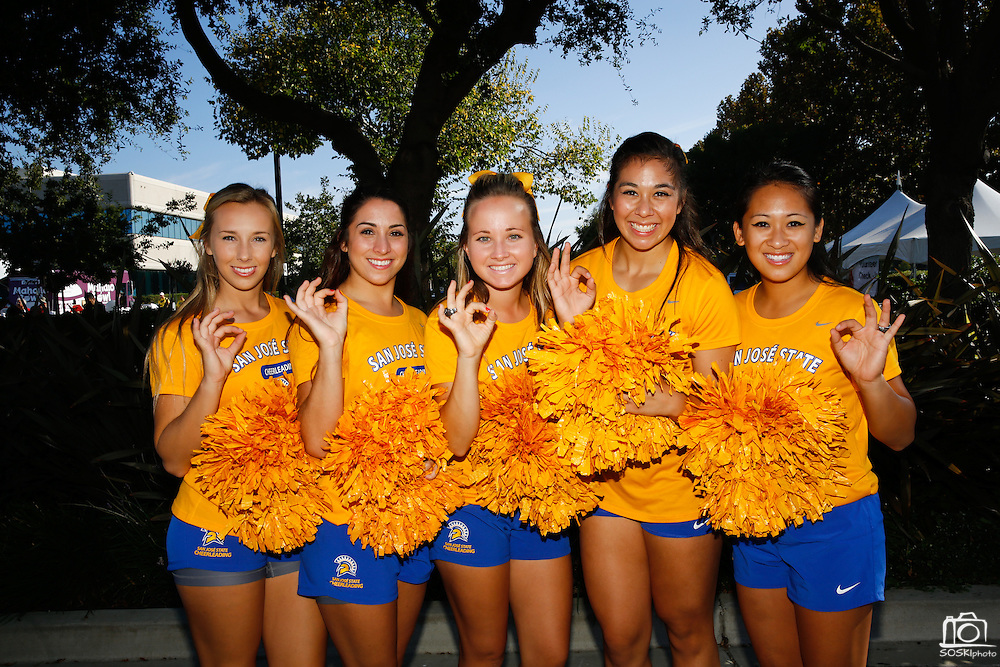 San Jose State University's cheerleaders pose for a portrait during the 2014 Silicon Valley Heart & Stroke Walk at KLA-Tencor in Milpitas, California, on October 11, 2014. (Stan Olszewski/SOSKIphoto)