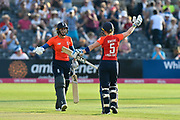 England win - Natalie Sciver of England and Heather Knight (captain) of England go to hug after England beat New Zealand during the International T20 match between England Women Cricket and New Zealand at the Bristol County Ground, Bristol, United Kingdom on 28 June 2018. Picture by Graham Hunt.