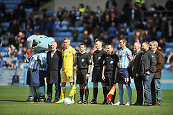 MARK BEEVERS MILLWALL, LINE UP WITH MASCOT, Coventry City v Millwall Sky Bet League One, Ricoh Arena, Saturday 16th April 2016<br /> Score 2-1