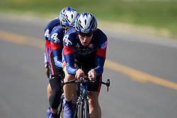 The US Air Force Academy team of Mark Fraser, Preston Goodrich, Trevor Johnson, Preston Moon, and Jay ShalekBriski competes in the men's division 2 race.  The 2008 USA Cycling Collegiate National Championships Team Time Trial event was held near Wellington, CO on May 9, 2008.  Teams of 3 or 4 riders raced over a 20km out and back course that ran along a service road to Interstate 25.
