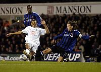 Photo: Olly Greenwood.<br />Tottenham Hotspur v Club Brugge. UEFA Cup. 02/11/2006. Spurs Jermaine Jenas and Club Brugge's Sven Vermant