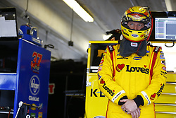 April 7, 2018 - Ft. Worth, Texas, United States of America - April 07, 2018 - Ft. Worth, Texas, USA: Michael McDowell (34) hangs out in the garage during practice for the O'Reilly Auto Parts 500 at Texas Motor Speedway in Ft. Worth, Texas. (Credit Image: © Chris Owens Asp Inc/ASP via ZUMA Wire)