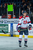 KELOWNA, CANADA - NOVEMBER 17:  Dylan Cozens #24 of the Lethbridge Hurricanes during warm up against the Kelowna Rockets on November 17, 2017 at Prospera Place in Kelowna, British Columbia, Canada.  (Photo by Marissa Baecker/Shoot the Breeze)  *** Local Caption ***