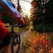 Malachi Artise kicks up dust in late afternoon light as he rides in the Tetons of Wyoming.