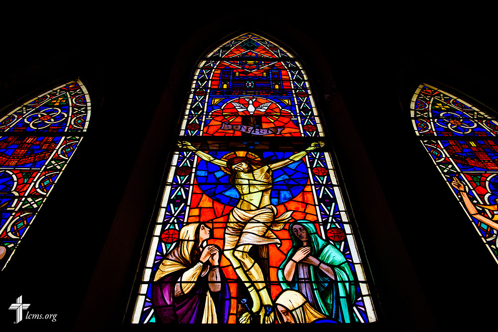 Stained glass depicting the death and crucifixion of Jesus Christ at East Bethlehem Lutheran Church, Detroit, Mich., on Wednesday, June 21, 2017, in Detroit. LCMS Communications/Erik M. Lunsford