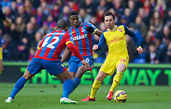 LONDON, ENGLAND - Saturday, February 21, 2015: Arsenal's Santi Cazorla in action against Crystal Palace during the Premier League match at Selhurst Park. (Pic by David Rawcliffe/Propaganda)
