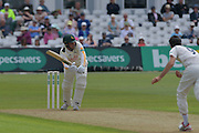 Brendan Taylor clips Graham Onions into the leg side during the Specsavers County Champ Div 1 match between Nottinghamshire County Cricket Club and Durham County Cricket Club at Trent Bridge, West Bridgford, United Kingdom on 28 May 2016. Photo by Simon Trafford.
