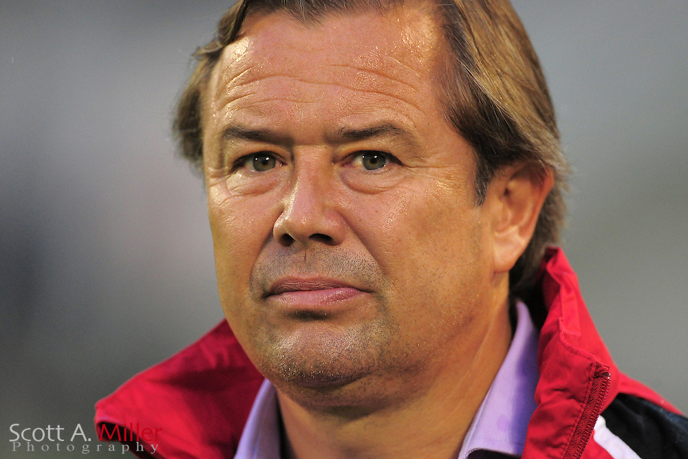 Orlando City Lions coach Adrian Heath during the Lions 3-0 win over the Harrisburg City Islanders USL Pro game at the Citrus Bowl on June 22, 2012 in Orlando, Florida. ..©2012 Scott A. MIller