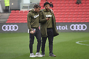 Leeds United midfielder Kalvin Phillips (23) and Leeds United forward Tyler Roberts (11) inspect the pitch during the EFL Sky Bet Championship match between Bristol City and Leeds United at Ashton Gate, Bristol, England on 9 March 2019.