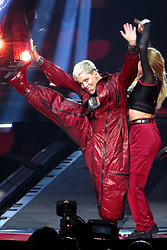Pink puts on an energetic and acrobatic performance during her Beautiful Trauma Tour in Vancouver. Pink displayed an colorful array of outfits as she performed at Rogers Arena to a sold out crowd. The singer was seen wearing a see-through mesh top as she hung from the ceiling during the high energy show. Pinks family were also in attendance. 12 May 2018 Pictured: Pink. Photo credit: MEGA TheMegaAgency.com +1 888 505 6342