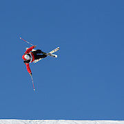 Erik Hughes, USA, in action during the Freeski Slopestyle Men's Final at Snow Park, New Zealand during the Winter Games. Wanaka, New Zealand, 18th August 2011. Photo Tim Clayton