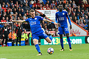Jamie Vardy (9) of Leicester City shoots at goal and misses during the Premier League match between Bournemouth and Leicester City at the Vitality Stadium, Bournemouth, England on 30 September 2017. Photo by Graham Hunt.
