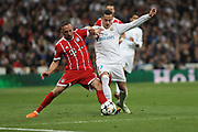 Franck Ribery (Bayern Munich) and Lucas Vasquez (Real Madrid) during the UEFA Champions League, semi final, 2nd leg football match between Real Madrid and Bayern Munich on May 1, 2018 at Santiago Bernabeu stadium in Madrid, Spain - Photo Laurent Lairys / ProSportsImages / DPPI