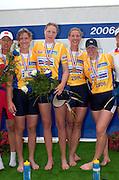 Poznan, POLAND.  2006, FISA, Rowing World Cup, Women's Quad Gold  Medallist , GBR W4X left to right Debbie FLOOD, Sarah WINCKLESS, Frances HOUGHTON, Katherine GRAINGER,     'Malta Regatta course;  Poznan POLAND, Sat. 17.06.2006. © Peter Spurrier   ....[Mandatory Credit Peter Spurrier/ Intersport Images] Rowing Course:Malta Rowing Course, Poznan, POLAND