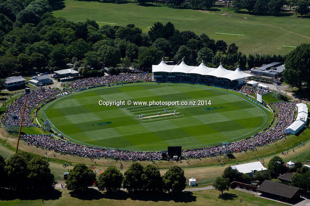 General view of Hadley park, in the 1st day of the cricket test match, NZ v Sri Lanka, Hagley Oval, 26 December 2014. Photo:John Davidson/www.photosport.co.nz