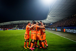 Players of Liverpool FC celebrating goal during group E football match between NK Maribor and Liverpool FC in 3rd Round of UEFA Champions League, on October 17, 2017 in Ljudski vrt, Ljubljana, Slovenia. Photo by Ziga Zupan / Sportida