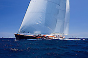 Rebecca sailing in the 2010 Antigua Classic Yacht Regatta, Windward Race, day 4.